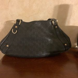 Authentic Gucci black leather gg print purse